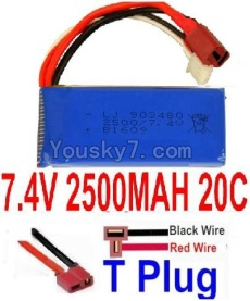 7.4V Battery 66-05 7.4v 2500mah 25C Battery with T Plug-903480(Horizontal shaft-Black Wire,Verticall shaft-Red wire)