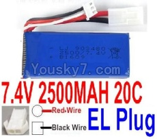 7.4V Battery 66-06 7.4v 2500mah 25C Battery with 2P EL Plug-903480(Red wire-Round Hole,Black Wire-Square Hole)