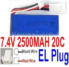 7.4V Battery 66-07 7.4v 2500mah 25C Battery with 2P EL Plug-903480(Red wire-Square Hole,Black Wire-Roud Hole)