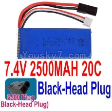 7.4V Battery 66-08 7.4v 2500mah 25C Battery with 5500 Black Head Plug-903480