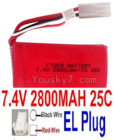 7.4V Battery 76-01 7.4V 2800mah 25C Battery with White 2P EL Plug-FT009 Boat(Red wire-Square Hole,Black Wire-Roud Hole)