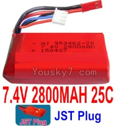 7.4V Battery 77-01 7.4V 2800mah 25C Battery with Red JST Plug-953462