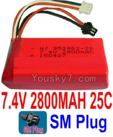 7.4V Battery 77-02 7.4V 2800mah 25C Battery with 2P SM Plug-953462