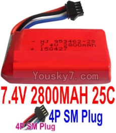 7.4V Battery 77-03 7.4V 2800mah 25C Battery with 4P SM Plug-953462