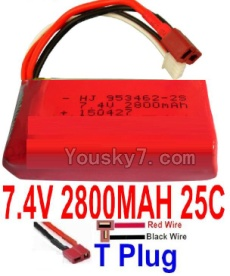 7.4V Battery 77-04 7.4V 2800mah 25C Battery with T Plug-953462(Horizontal shaft-Red Wire,Verticall shaft-Black wire)