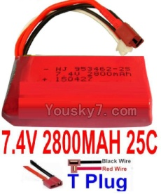 7.4V Battery 77-05 7.4V 2800mah 25C Battery with T Plug-953462(Horizontal shaft-Black Wire,Verticall shaft-Red wire)