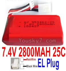 7.4V Battery 77-06 7.4V 2800mah 25C Battery with 4P SM Plug-953462(Red wire-Round Hole,Black Wire-Square Hole)