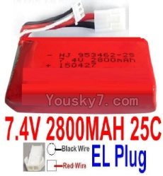 7.4V Battery 77-07 7.4V 2800mah 25C Battery with 4P SM Plug-953462(Red wire-Square Hole,Black Wire-Roud Hole)