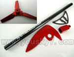 CX-009-parts-42 Long tail pipe & Tail blade & Horizontal and Verticall wing & Tail cover-Toal 5pcs-Red