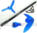 CX-009-parts-47 Long tail pipe & Tail blade & Horizontal and Verticall wing & Tail cover-Toal 5pcs-Blue