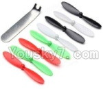 Holy Stone F180C F180D Parts-07 Main rotor blades(8pcs-2x Black & 2X White & 2X Red & 2X Green,1X Wrench)