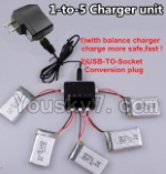 Holy Stone F180C F180D Parts-23 Upgrade 1-to-5 charger and balance charger & USB-TO-socket Conversion plug(Not include the 5 battery)
