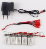 Holy Stone F181-Parts-50 Charger & 5pcs 1-to-5 jst cover wire & 5pcs 750mah battery