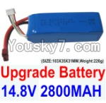 Feilun FT011 Boat Parts-07 Upgrade 14.8V 2800mah 30C Battery-(SIZE-103X35X31MM,Weight-226g)