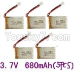 Lead Honor LH-X10 Parts-22 Upgrade 3.7v 680mah battery-Fly more time,more power(5pcs)