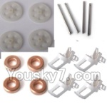 LH-X6 X6C Parts -06 Motor seat(4pcs) & Main gear(4pcs) Main shaft for the Main gear(4pcs) & Copper ring(4pcs)