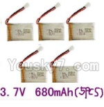 LH-X8 Parts-24 Upgrade 3.7v 680mah battery-Fly more time,more power(5pcs)