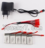 MJX X300 X300C parts-33 Charger & 5pcs 1-to-5 jst cover wire & 5pcs 750mah battery