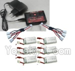 MJX X402 X402H Spare Parts-60 Upgrade charger and Balance charger & battery(6pcs) & Upgrade 1-to-3 wire(2pcs)