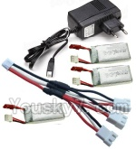 MJX X402 X402H Spare Parts-64 Upgrade 1-to-3 coversion Charging cable(1pcs) & Charger & 3pcs Battery