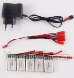 MJX X800 Parts-30 Charger & 5pcs 1-to-5 jst cover wire & 5pcs 750mah battery