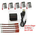 MJX X800 Parts-31 Upgrade 1-to-5 balance charger and USB charger & 5pcs JST coversion wire & 5pcs 750mah battery