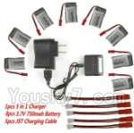 MJX X800 Parts-32 Upgrade 1-to-5 balance charger and USB charger & usb-to-Socket & conversion plug & 5pcs coversion wire & 8pcs 750mah battery