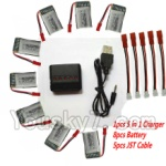 MJX X800 Parts-33 Upgrade 1-to-5 balance charger and USB charger & 5pcs coversion wire & 8pcs 750mah battery