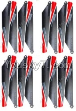 MingJi 812 Spare Parts-08 Propellers,Main rotor blades(16pcs)-Red