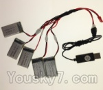 SongYang toys X13 Parts-19 USB Charger wire & Upgrade 1-to-5 Conversion wire((Not include the 5 battery)