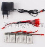 SongYang toys X25 Parts-42 Charger & 5pcs 1-to-5 jst conversion wire & 5pcs 750mah battery