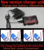 SongYang toys X6 Parts-24 Upgrade New version charger and balance charger-Can charge two battery at the same time & 4pcs Upgrade 1000mah Battery