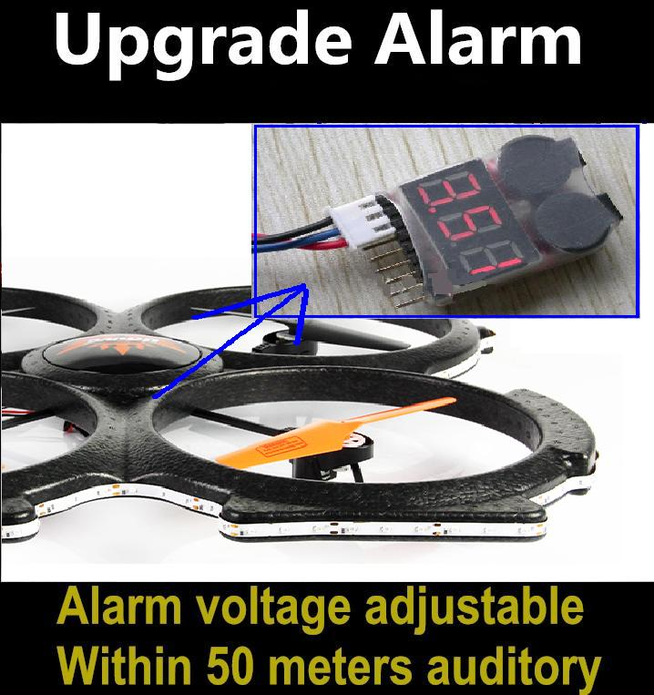Lower voltage alarm for the MJX F49/F649 li-battery to ensure timely return