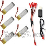 Holy Stone U818A Parts-30 3.7V 780mAh LiPo Battery(5pcs) & 1-TO-5 Conversion wire & USB Charger