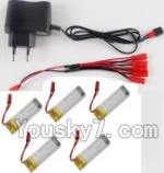 Holy Stone U818A Parts-31 USB Charger & 1-To-5 jst Conversion wire & 5pcs 780mah battery