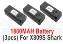 Visuo XS809 XS809S Parts-Battery-3.85V 1800MAH Battery(3pcs)-For XS809S Shark