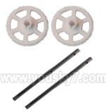 WL-V922-16 Main rotor gears(2pcs) & Carbon fiber main shaft for the gear(2pcs)