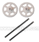 V955-parts-11 Main rotor gears(2pcs) & Carbon fiber main shaft for the gear(2pcs)
