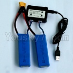 WL915 Boat Parts-49 2pcs 1200mah battery & Upgrade USB And Balance charger-Can charger two battery at the same time