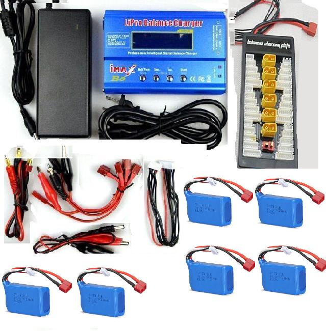 WL915 Boat Parts-50 6pcs 1200mah battery & Upgrade Charger unit,Can charger 6x battery at the same time(Power & B6 Charger & 1-To-6 Parallel charging Board)