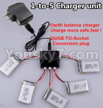 XK X130-T.0021-03 Spare Parts Upgrade 1-to-5 charger and balance charger & USB-TO-socket Conversion plug(Not include the 5 battery)