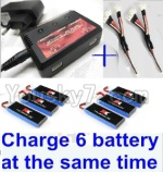 XK X251 Drone Parts-18 Upgrade charger and balance chager & 2pcs 1-To-3 convert wire & 6pcs battery-Total can charge 6x battery and the same time