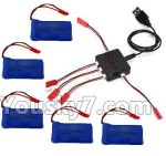 XK X260 Spare parts-22-01 5pcs 780mah Battery & Upgrade 1-to-5 charger with balance charger & Conversion wire(5pcs)