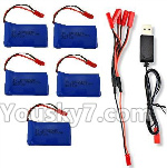 XK X260 Spare parts-22-03 3.7V 780mAh LiPo Battery(5pcs) & 1-TO-5 Conversion wire & USB Charger