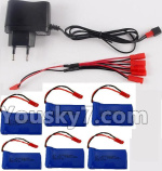 XK X260 Spare parts-22-04 USB Charger & 1-To-5 jst Conversion wire & 5pcs 780mah battery