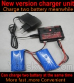 XinXun X33 X33V parts-10 Upgrade New version charger and balance charger-Can charge two battery at the same time